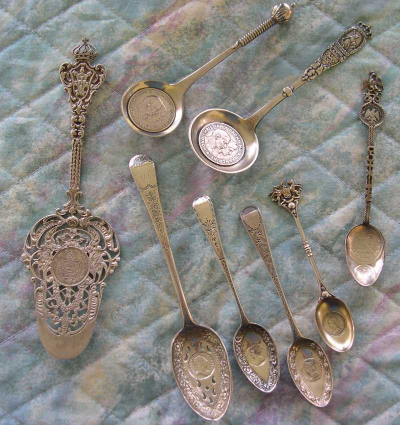 coin spoons silver embedded