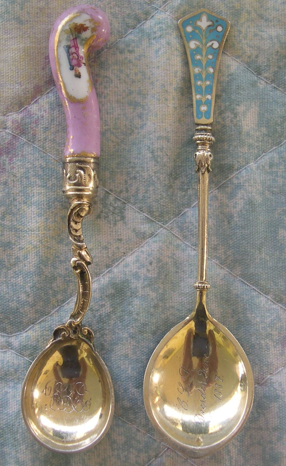 old german enamel spoons