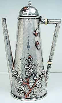 tiffany mixed metal silver coffee pot