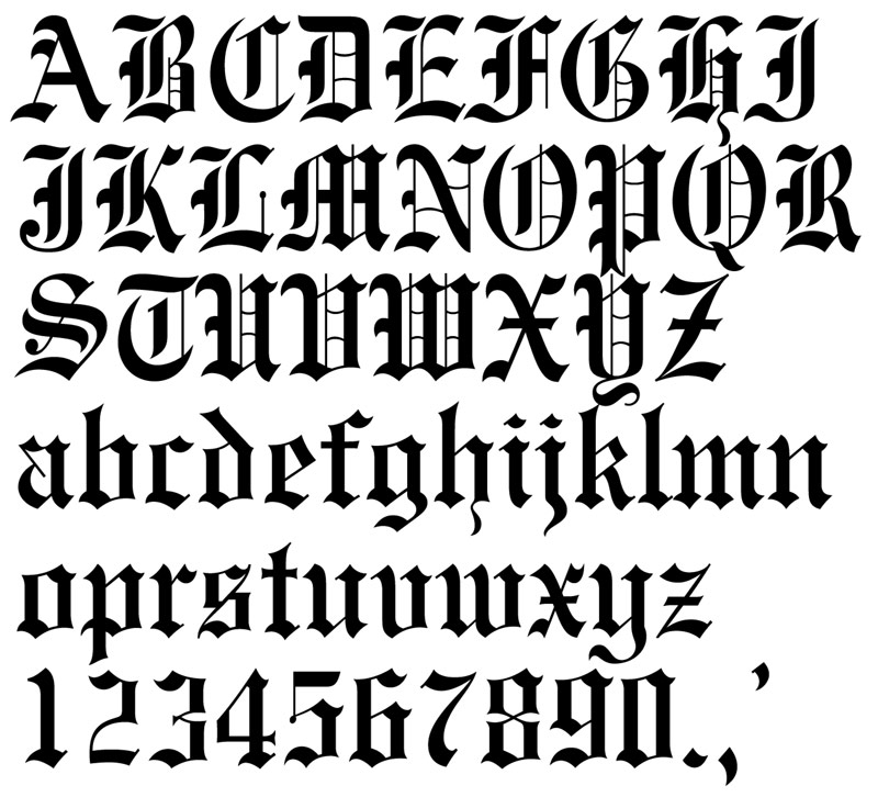 Old english alphabet / Old english letters