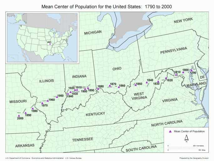 Population Center - 1900 us population map