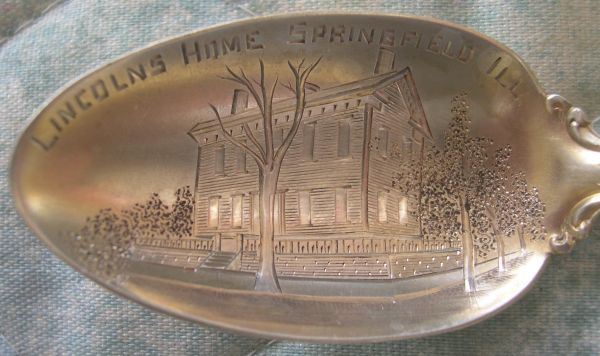 pres lincoln home engraved spoon