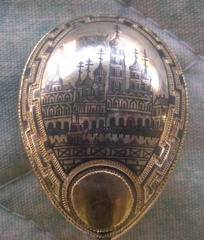 russian silver engraved spoon